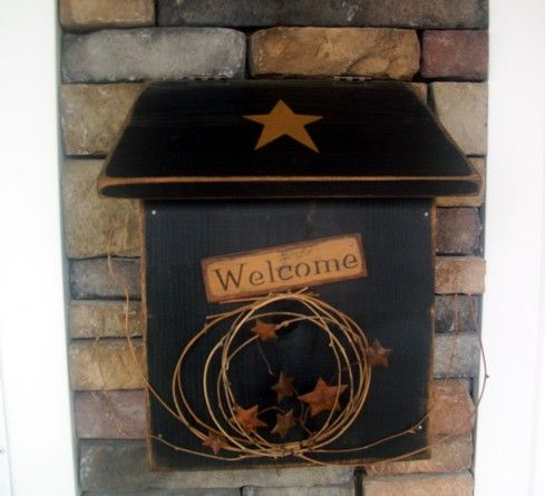 Primitive MailboxPorches Mailbox, Mailbox Wood, Primitives Decor, Wood Mailbox, Country Wooden Mailbox, Primitives Mailbox, Primitives Crafts, Mail Boxes, Mailbox Mail