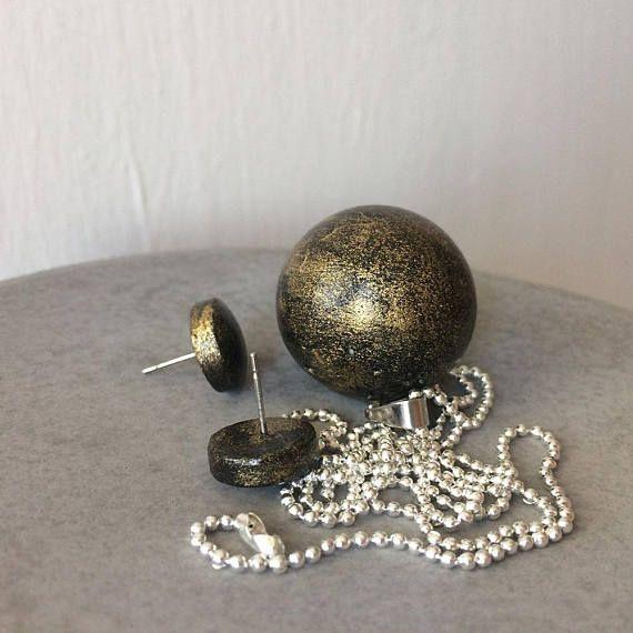 Galaxy earrings  pendant  Industrial MOON jewelry  CONCRETE