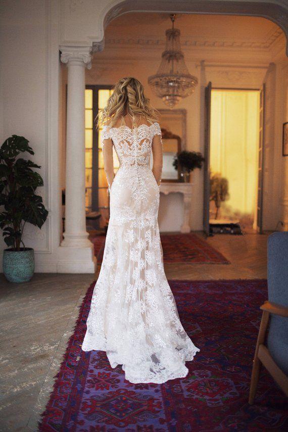 detachable train wedding dress Nektaria, off the shoulder long sleev wedding dress, mermaid lace wedding dress