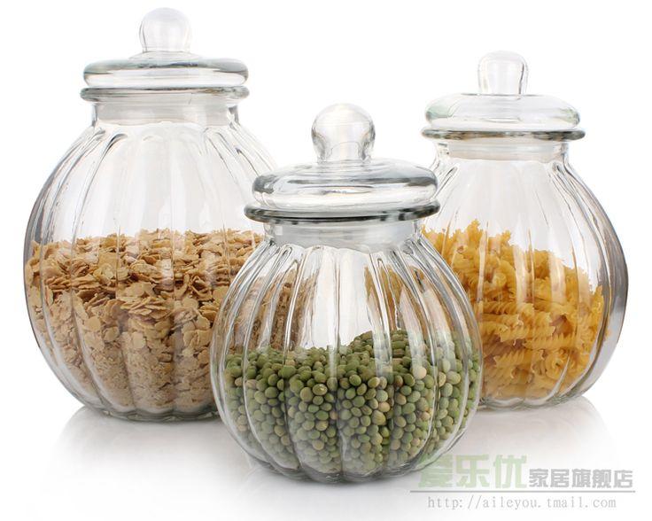 Glass storage jar sealed cans bottle pickle jar seasoning bottle big pumpkin bear tank 2.3L