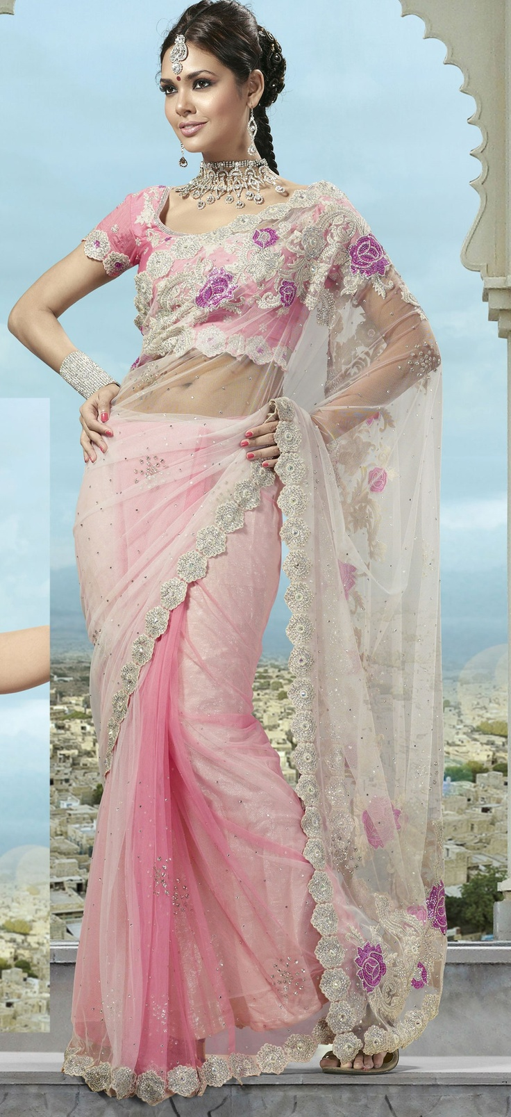 Pink Net Saree with Blouse Itemcode: SLSXZ90 Price: US$ 128.45 Click @ http://www.utsavfashion.com/store/sarees-large.aspx?icode=SLSXZ90