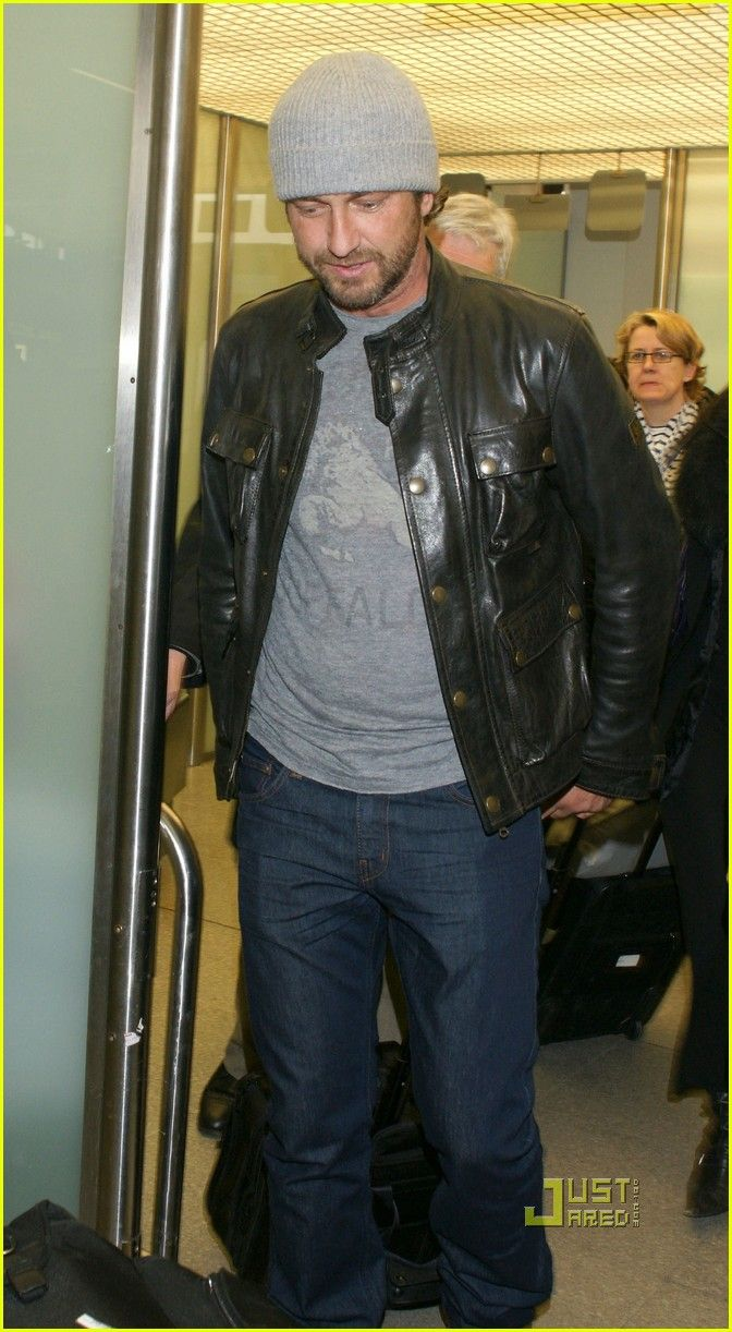 Gerard Butler wearing a Belstaff Leather Blouson. Shop Belstaff here: http://www.lineafashion.com/store/mens-belstaff-125
