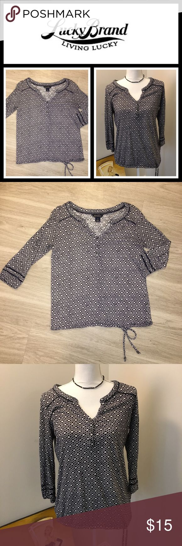 Lucky Brand Boho top 🍀 Excellent condition has work been warned about three times super soft and comfortable elastic waist and armbands size is medium cotton modal blend 🍀 Lucky Brand Tops