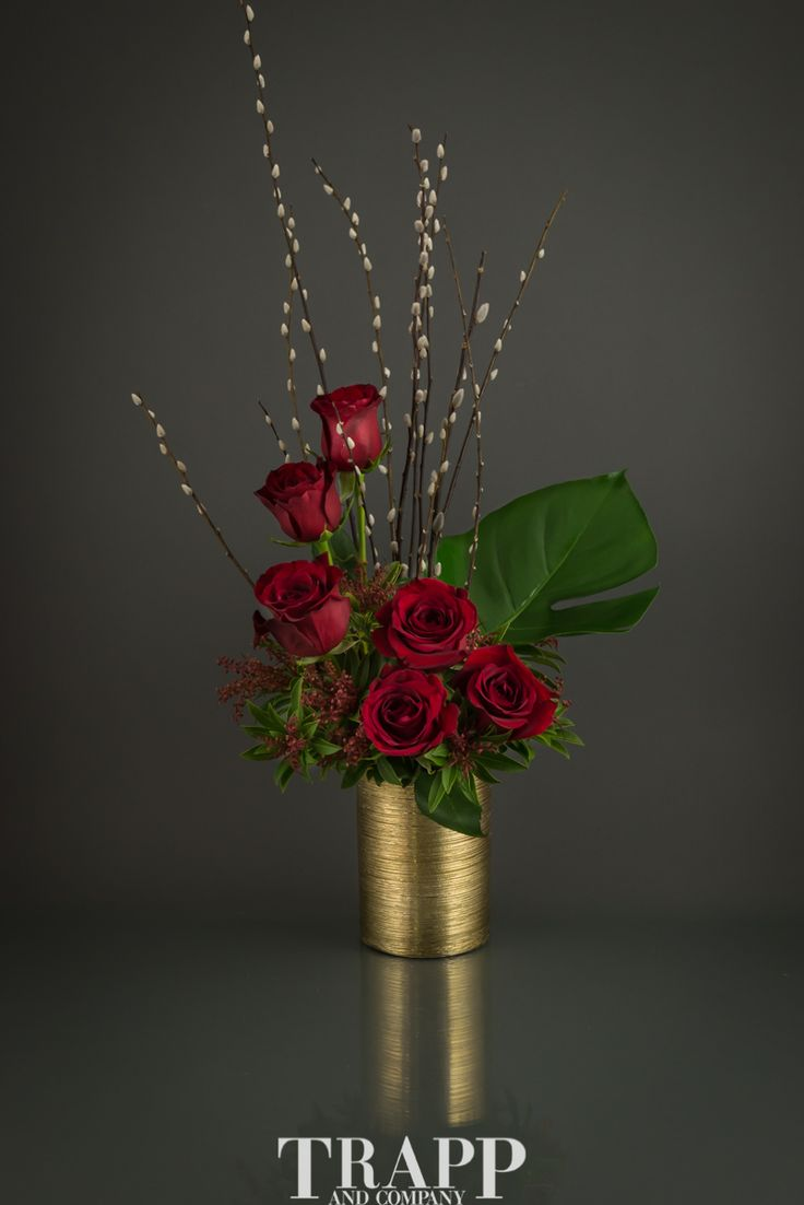 This feisty arrangement features a half dozen red roses, mixed greens and decorative willow in a tall gold vase. If you're looking for something wild to send to someone you're crazy for, this arrangement is perfect for you!   Crazy 4 You, part of Trapp and Company's 2017 Valentine's Day Collection is available for same day delivery in Kansas City.