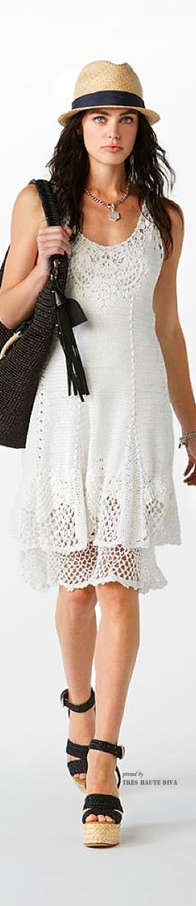 #NYFW Polo by Ralph Lauren Spring 2015-Fedora done up romantic style with crochet dress, very cool