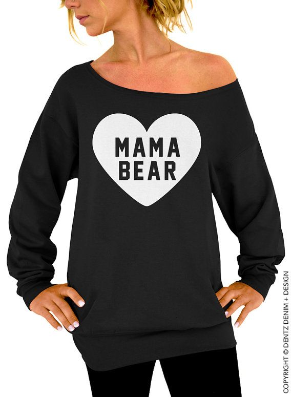 "Use coupon code ""pinterest"" Heart Mama Bear - Black with White Slouchy Oversized Sweatshirt by DentzDesign"