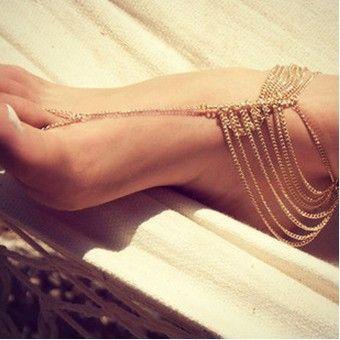 New Beach Fashion Multi Tassel Toe Bracelet Chain Link Foot Jewelry Anklet Free Shipping XY-B83