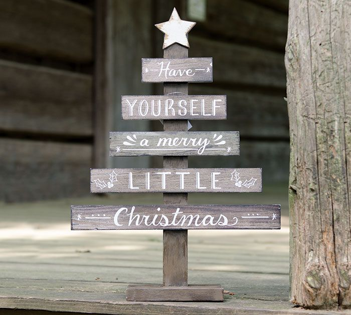 #burtonandburton Natural wood slat Christmas tree décor with hand-painted white…