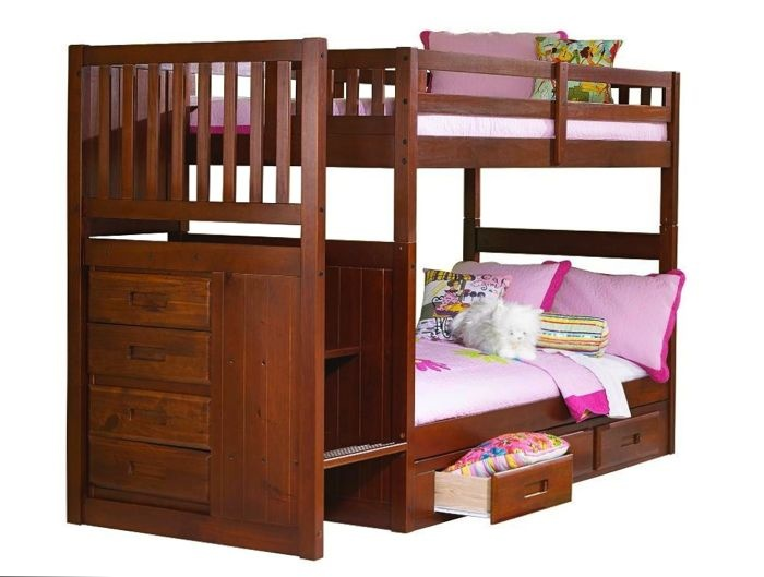 Discovery World Furniture Twin Over Merlot Staircase Bunk Bed