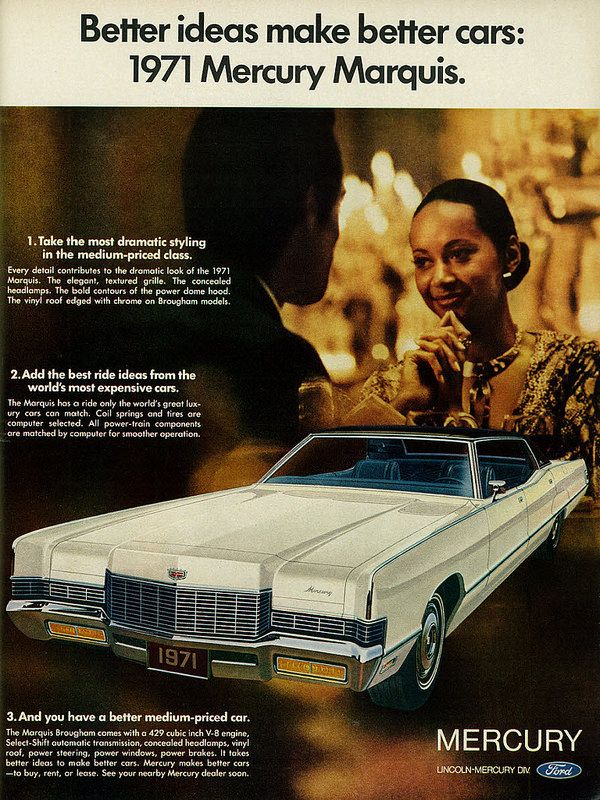 1970 Car Ad, Ford Mercury Marquis, Elegant Young Woman