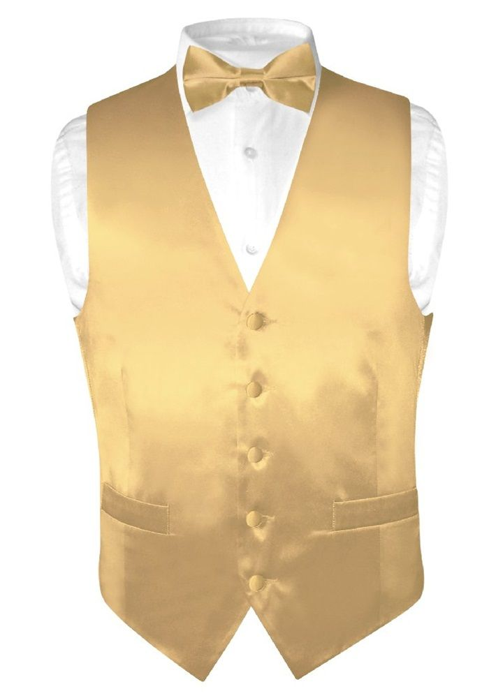 Biagio Men S Solid Gold Color Silk Dress Vest Bow Tie Set