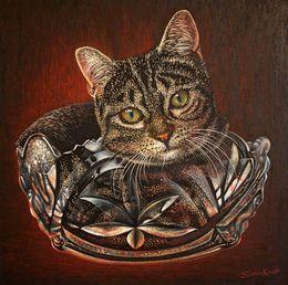 Cat in a Bowl  Funny Pet by simon-knott-fine-artist at zippi.co.uk