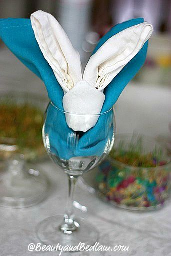 259 best napkin fold images on pinterest how to fold napkins harvest table decorations and - Fold bunny shaped napkin ...