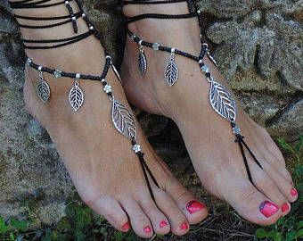 Aretes de hoja y hoja sandalias descalzo pie negro joyería Hippie sandalias dedo anillo tobilleras Crochet sandalias Yoga