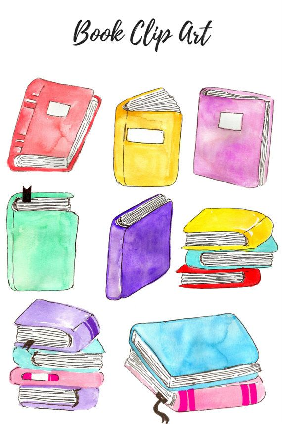 Watercolor school. Clip art book kid