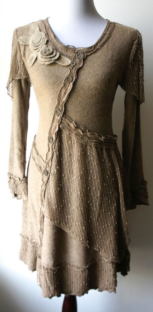 Pretty Angel Vintage Clothing | Pretty Angel Vintage Boho Peasant Ecru Sweater Dress Textured ...