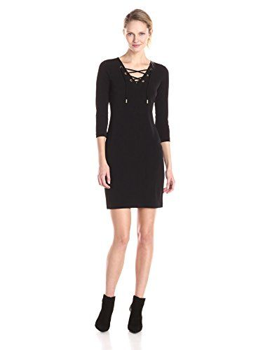 Calvin Klein Women's Lace Up Detail 3/4 Sleeve Dress