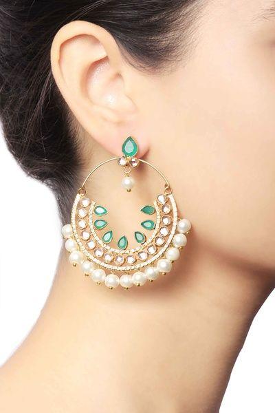 gold chaandbalas, pearl drops, green stones, emerald work