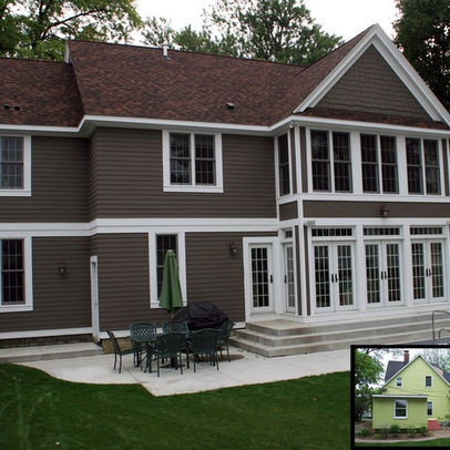 traditional exterior by cbi design professionals inc possibly benjamin moores texas leather also what about more french doors for sunroom to replace