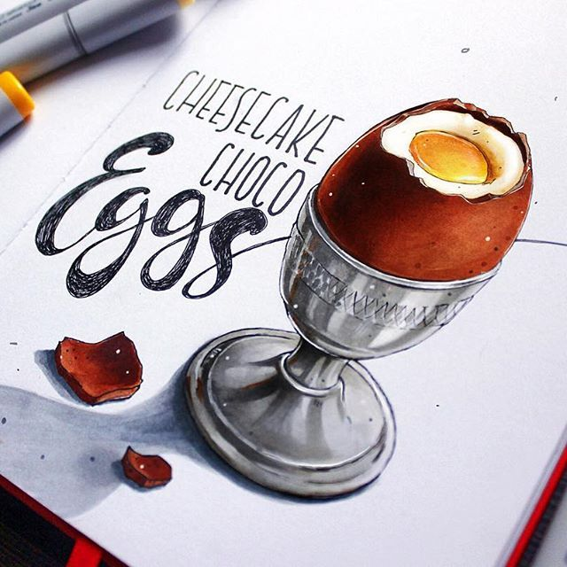 "Cheesecake filled chocolate eggs| шоколадные яйца с начинкой ""чизкейк"" для @do_sketch #copic, #copicart, #copicmarker, #leuchtturm1917, #sketch, #illustration, #art, #иллюстрация, #topcreator, #sketchbook, #egg, #chocolateegg, #chokolate, #dessert"