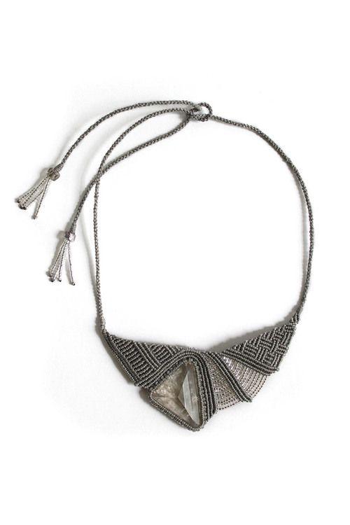 Pyramid Quartz macrame necklace