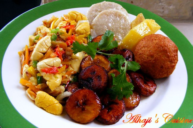 jamaican breakfast food. ackee and saltfish. boil and fried dumplin. boil and fried ripe banana. in my family, we eat with green banana, breadfruit, and yam as well.