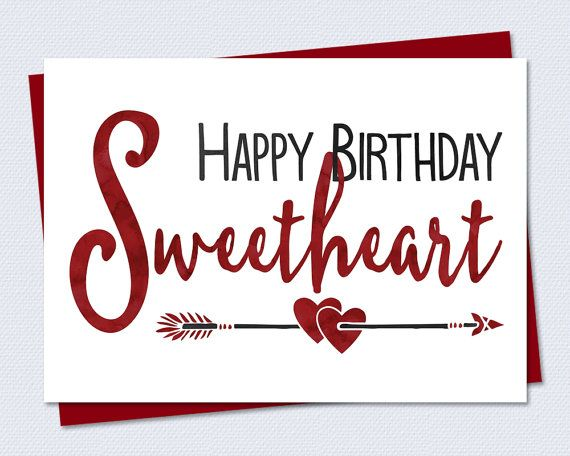 Printable Birthday Card Happy Birthday Sweetheart Instant PDF