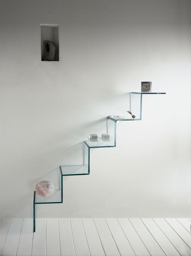 Glass wall shelf scala del cielo t d tonellidesign