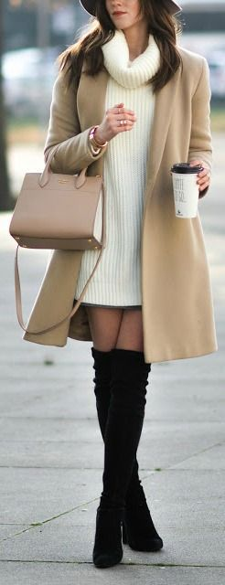Light brown trench coat with tall black boots and a white long sweater! Winter fashion ideas!