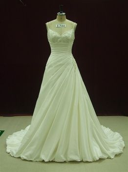 Ruching with sweetheart neckline and narrow straps