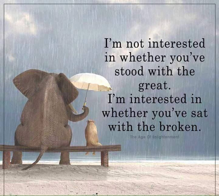 I'm not interested in whether you've stood with the great. I'm interested in whether you've sat with the broken. #quote #inspiration #quoteoftheday