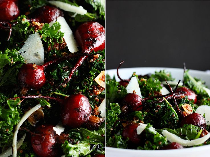 I'm thrilled that kale has been hot lately. It's so nourishing! I love to make it into a meal-level salad with balsamic roasted beets + quinoa. // via The First Mess