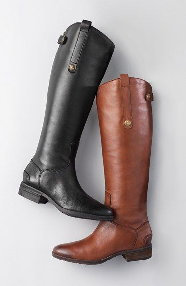 Free shipping and returns on Sam Edelman 'Penny' Boot (Women) (Wide Calf) at Nordstrom.com. A rich, burnished finish enhances a knee-high leather boot with a svelte slanted shaft. Size 10 wide calf in whiskey (the brown)