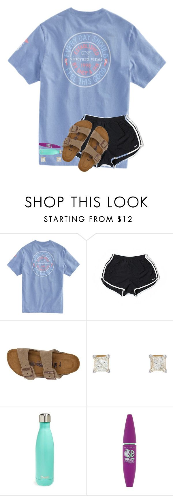 """""""Friday yay!!!"""" by kyliegrace ❤ liked on Polyvore featuring beauty, NIKE, Birkenstock, S'well and Maybelline"""