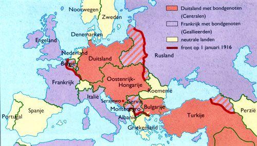 In de Eerste Wereldoorlog werden er verschillende bondgenootschappen gesloten. Er waren twee groepen; de Geallieerden en de Centralen.  De Geallieerden waren: Frankrijk, Rusland, Engeland, Italië, Portugal en Servië. De Centralen waren: het Ottamaanse rijk, Oostenrijk-Hongarije,  Duitsland en Bulgarije.