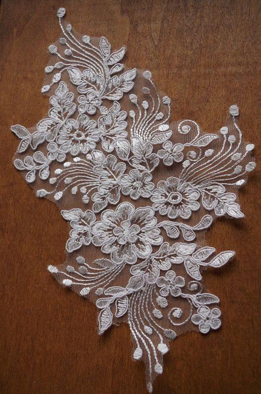 Ivory Lace Applique alencon lace appliques 2 by Lacefabricstore