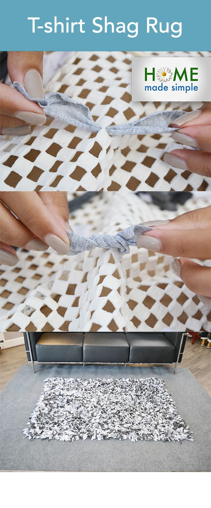 Have some old T-shirts hanging around? Put them to good use with this simple DIY T-shirt rug. Cut up your old shirts and weave them together. It's just 5 simple steps that we've illustrated with pictures. It's the perfect way to use up old shirts and it's a simple craft to do with the whole family.