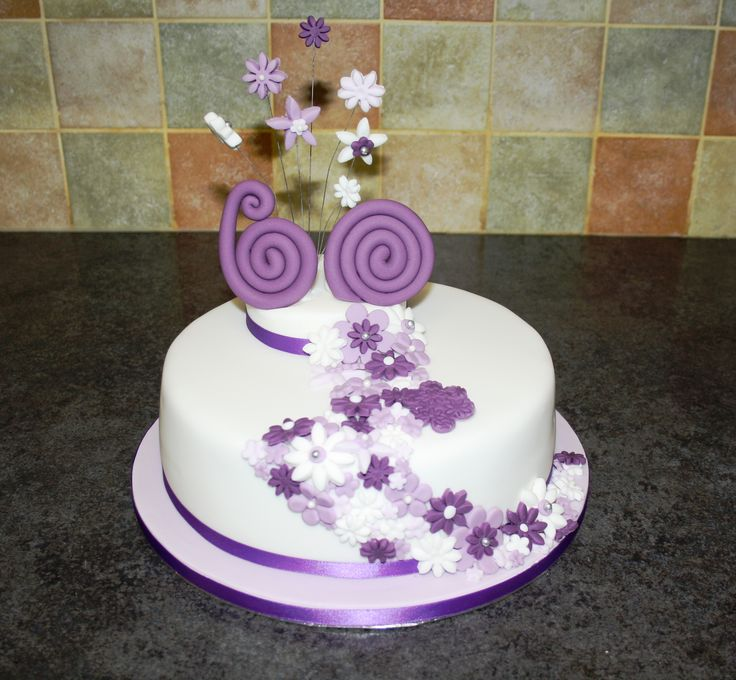 Cake Decorations For A 60th Birthday : Purple cake for a 60th Birthday Love the numbers Yummy ...