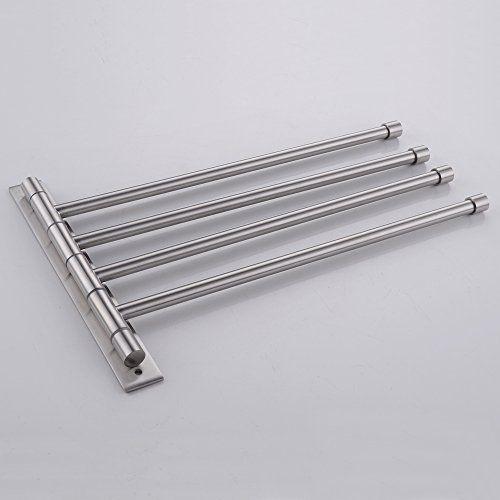 Ikea Schreibtisch Unterlage Leder ~ KES® A2102C 2 Bathroom Swing Arm Towel Bars 4 Arm Wall Mount, Brushed