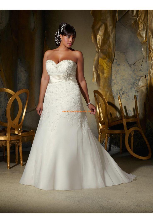 Robe de mariée grande taille organza applique dentelle perles taille empire