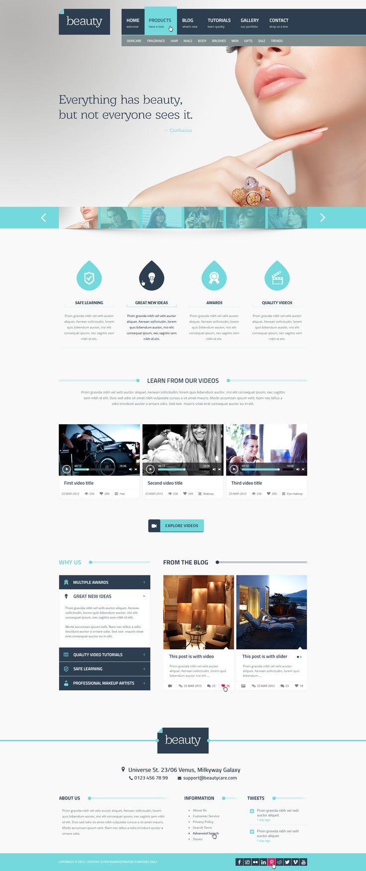 Beauty is a Flat Multipurpose PSD Template with an unique design for your business. It is designed also for online video tutorials and it includes a product page too.