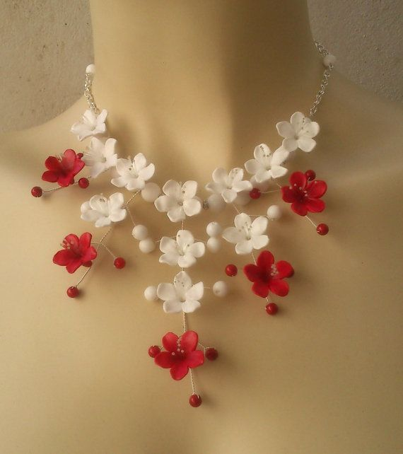 Red and white jewelry - Flower jewelry set - Polymer clay
