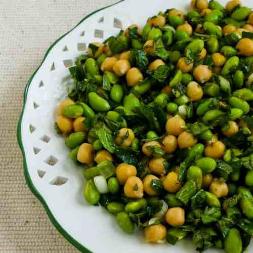Recipe for Chickpea (Garbanzo Bean) and Edamame Salad with Lemon and Mint  [#SouthBeachDiet friendly #low-glycemic recipe from Kalyn's Kitchen; visit the blog to see step-by-step photos for this recipe.]