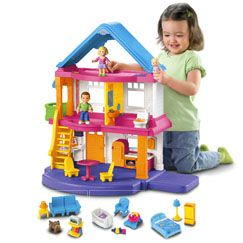 My First Dollhouse Gift Set- Fisher-Price Online Toy Store: Dolls Houses, Dollhouses Caucasian, Gifts Ideas, Fisher Price, Front Doors, Christmas, Toys, Caucasian Families, 2 Years Old