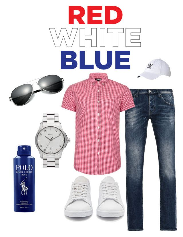 """""""4th of July"""" by esteadman-1 on Polyvore featuring Armani Jeans, Topman, adidas Originals, Gucci, Ralph Lauren, adidas, men's fashion and menswear"""