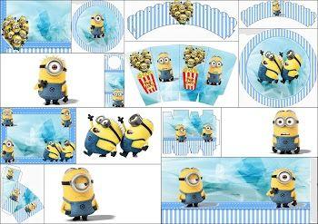 Minions on Blue Background: Free Printable Mini Kit.خووووش مووووقع