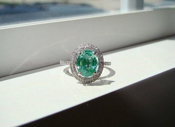 Oval Halo Mint Blue Green Paraiba Tourmaline Diamond Ring