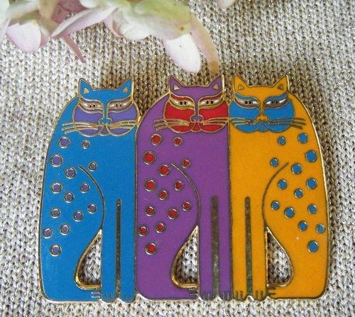Vintage signed LAUREL BURCH Enamel  Cats Pin