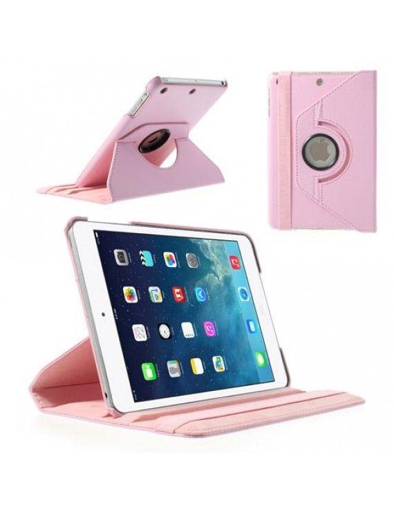 Περιστρεφόμενη Δερμάτινη Θήκη Βιβλίο με Βάση Στήριξης για iPad Mini / iPad Mini 2 - Ροζ