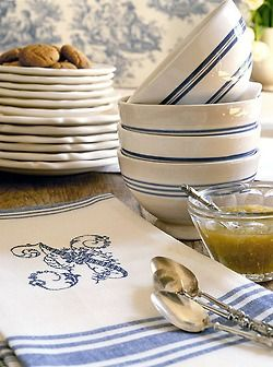 Blue and white striped bowls with floral monogram linens